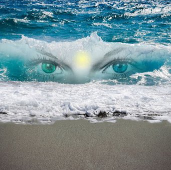 Fantasy photo of a set of eyes peering through a wave representing awareness the ability to change