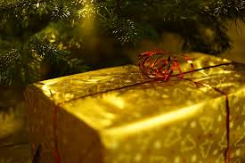 a present wrapped in gold paper