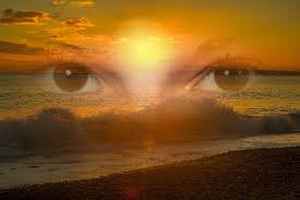 Fantasy photo a girls eyes looking through an ocean wave, exhibiting perception