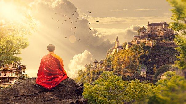 a monk sits atop a mountain overlooking a valley filled with birds and ancient temples