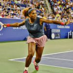 Serena William hits a forehand winner
