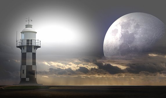 Lighthouse shines over ocean low cloud raining and massive full moon
