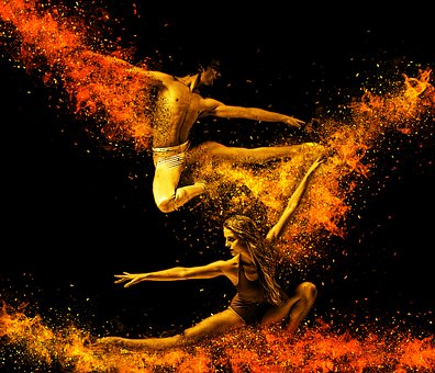 Fantasy photo of two ballerinas literally on fire