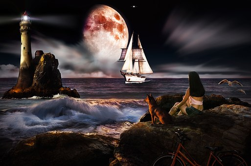 Fantasy Photo a waoman sits with her dog and looks out past a lighthouse a ship cruises close by under a huge full moon and cloud