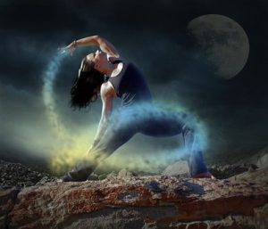 fantasy pic of woman in extreme exercise motion