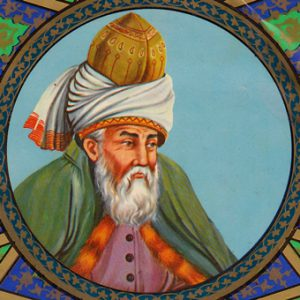 Picture of Rumi, old man with long white beard wearing a turban and full length robes