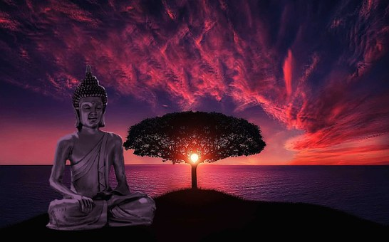 A statue of Buddha while the sunsetting sun glows through a Bodhi tree, beautiful pink clouds and the ocean complete the scene