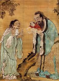 Chinese painting of Confuscious holding a baby while its mother asks for his blessing