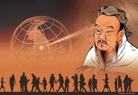 Painting of Confucious using the third eye while masses of confused people stand around