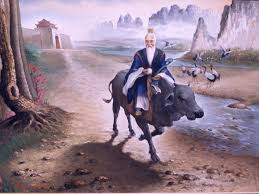 Picture of Lao Tzu riding a cow along side a riverbank
