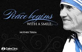 Picture of Mother Teresa with quote- Peace Begins With A Smile