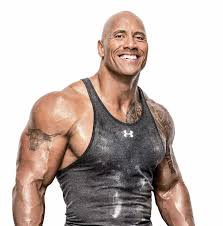 Dwayne Johnson smiling in black singlet massive physique