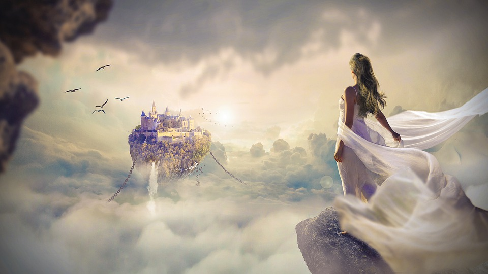 A beautifil woman in a long white flowing dress looks out over a mountain to an island in the sky