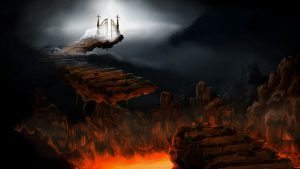 Fantasy photo-Heaven sits aglow above while below hell burns over beneath