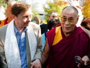 Eckhart Tolle and Dalai Lama walk hand in hand down a busy street