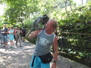 Me, Paul in Bali with monkey on my shoulder