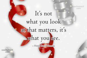 its not what you look at that matters its what you see